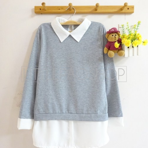 Simple Collar Sweater (grey) - ecer@76rb - seri4pcs(2w) 284rb - babyterry - fit to L