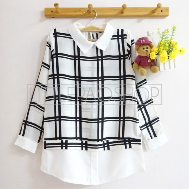 Windows Collar Top (white) - ecer@70rb - seri4pcs(2black2white) 260rb - twistcone - fit to L