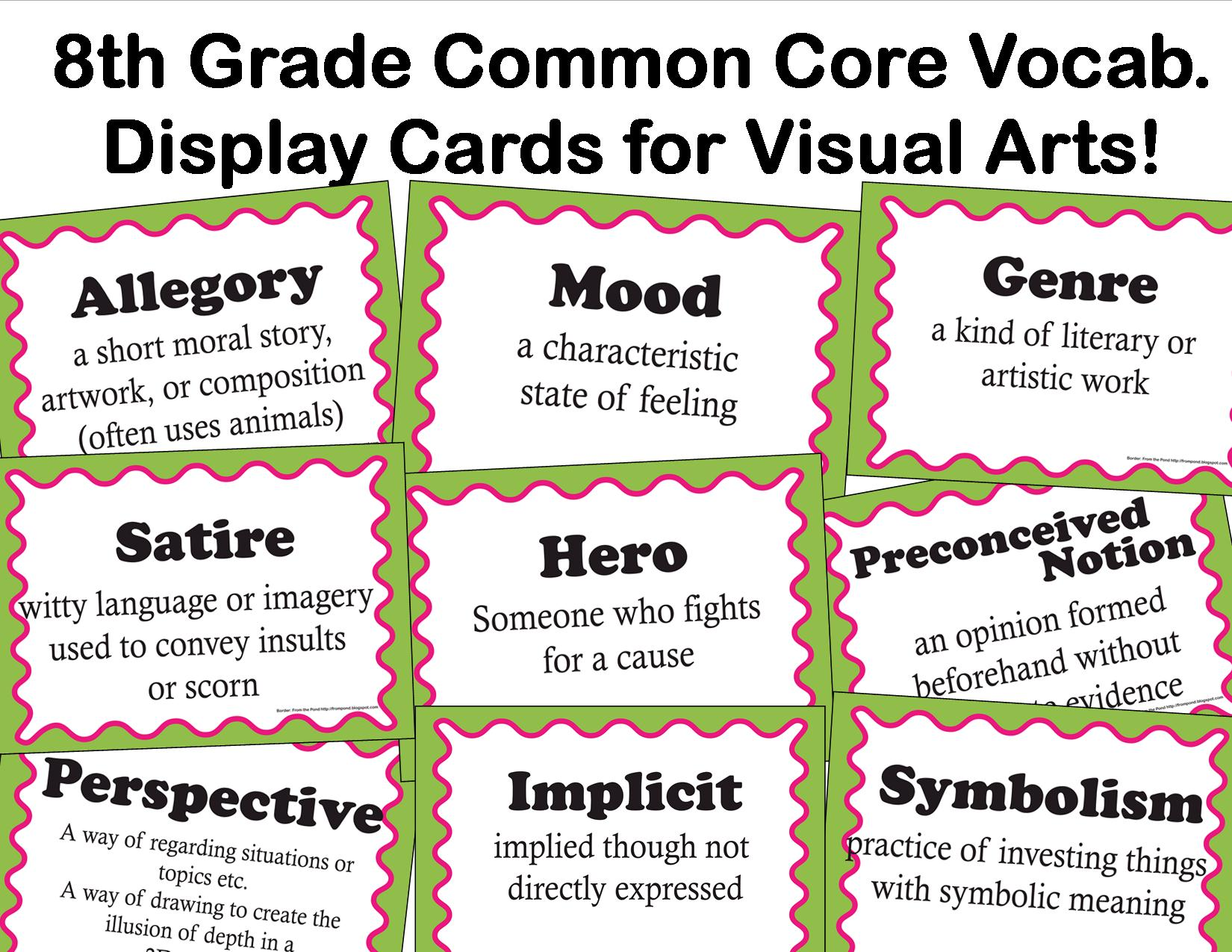 The Smartteacher Resource Common Core Language Arts Vocab For Visual Arts For 8th Grade