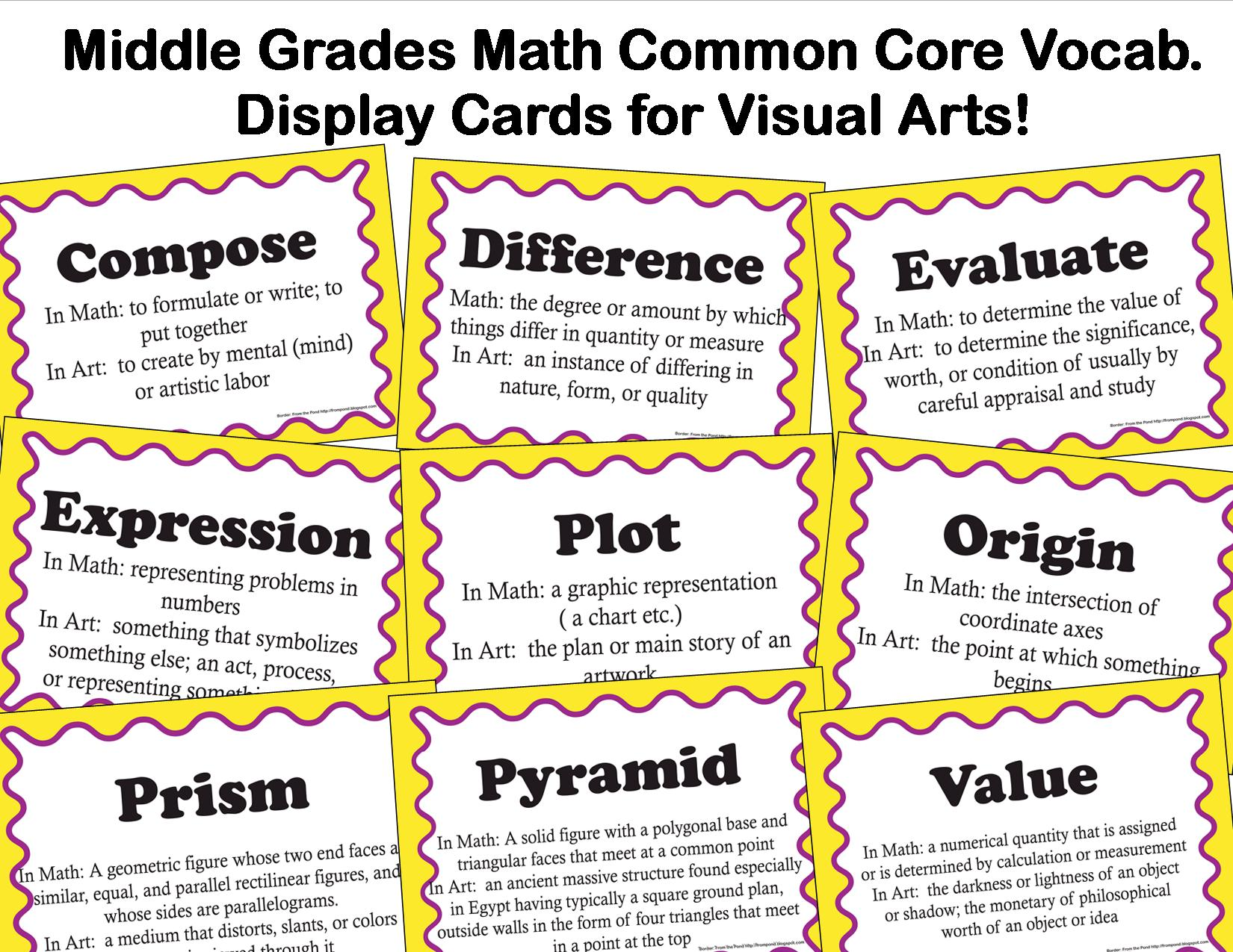 The Smartteacher Resource Common Core Vocabulary For Middle School Visual Arts