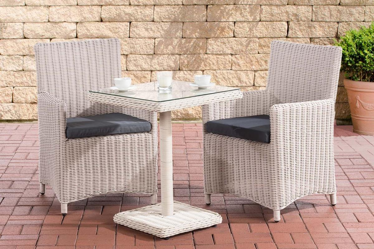 rattan garden furniture malmo small compact set pearl white expandable seating lounge table with 2x chair for terrace garden balcony