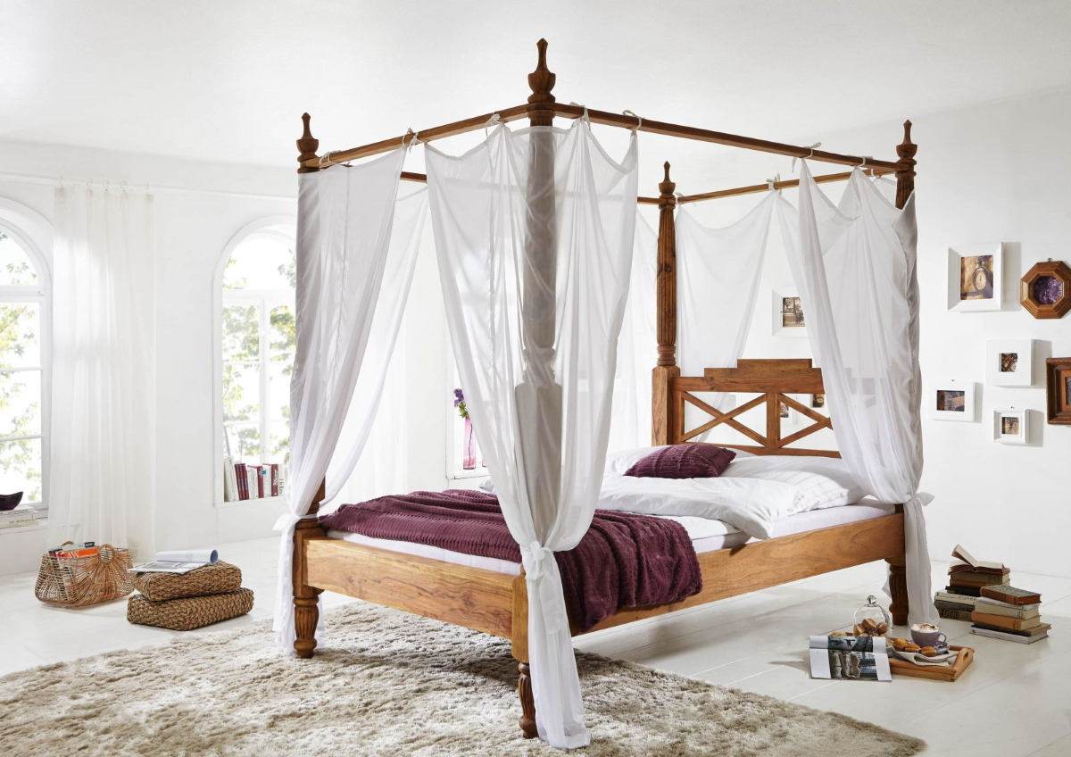 wooden four poster bed 180x200 cm made of sheesham palisander wood color brown with white cover