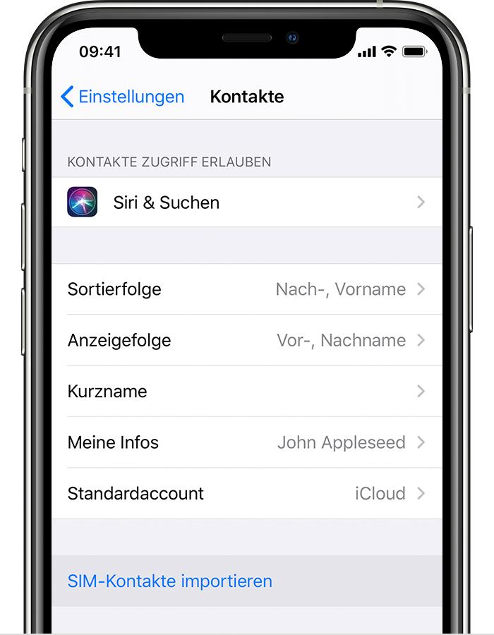 Kontakte Von Der Sim Karte Auf Das Iphone Importieren Apple Support