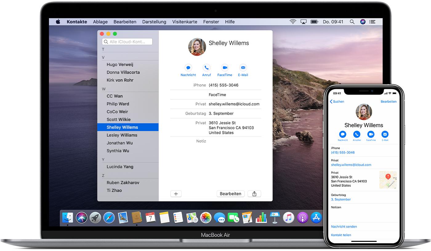 Einrichten Und Verwenden Von Icloud Kontakten Apple Support