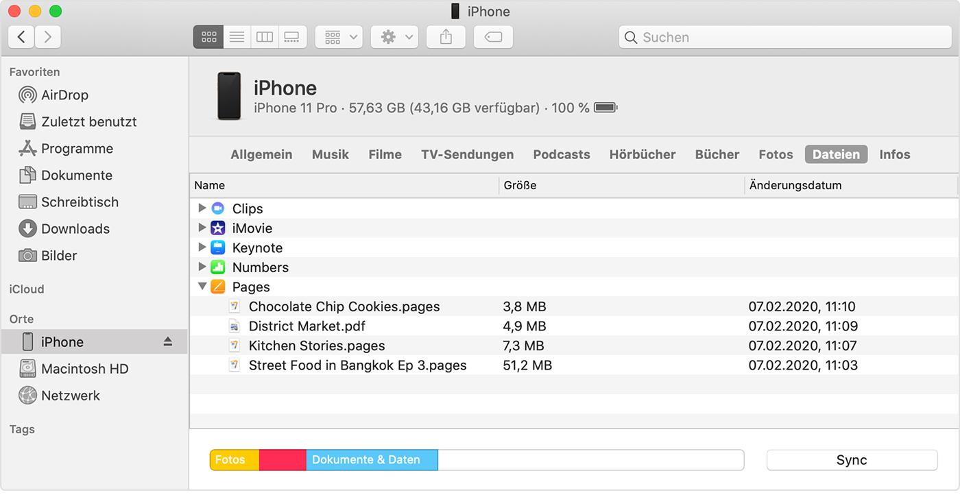 Verwende Den Finder Um Dateien Zwischen Deinem Mac Und Deinem Iphone Ipad Oder Ipod Touch Freizugeben Apple Support