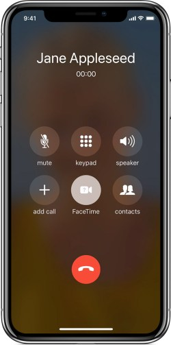 screen showing an active call
