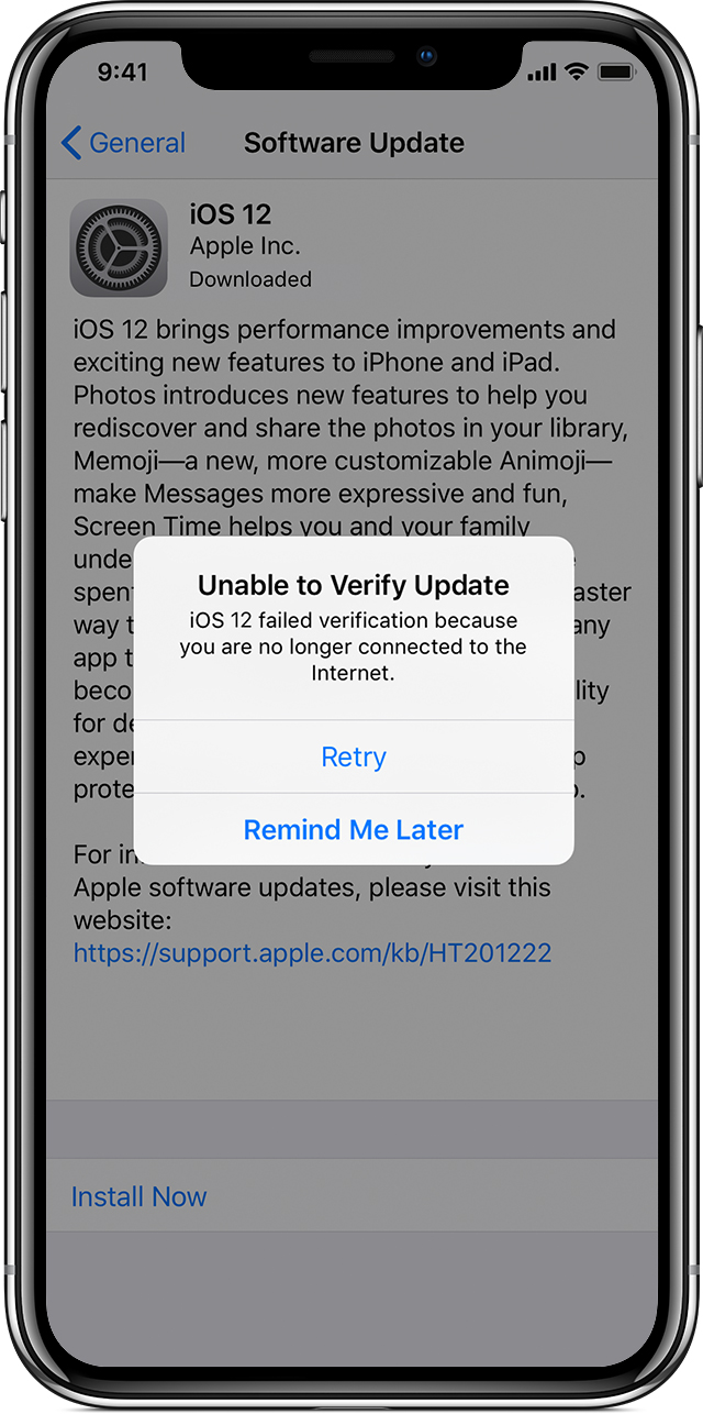 Get help with over the air iOS updates   Apple Support alert on iPhone saying unable to verify update
