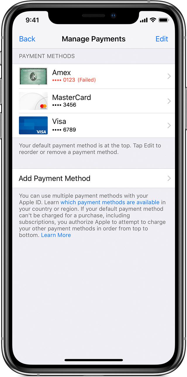 إذا تم رفض طريقة الدفع في App Store أو Itunes Store Apple