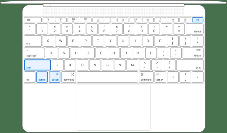 Notebook-Tastatur, auf der alle vier Tasten gedrückt gehalten werden
