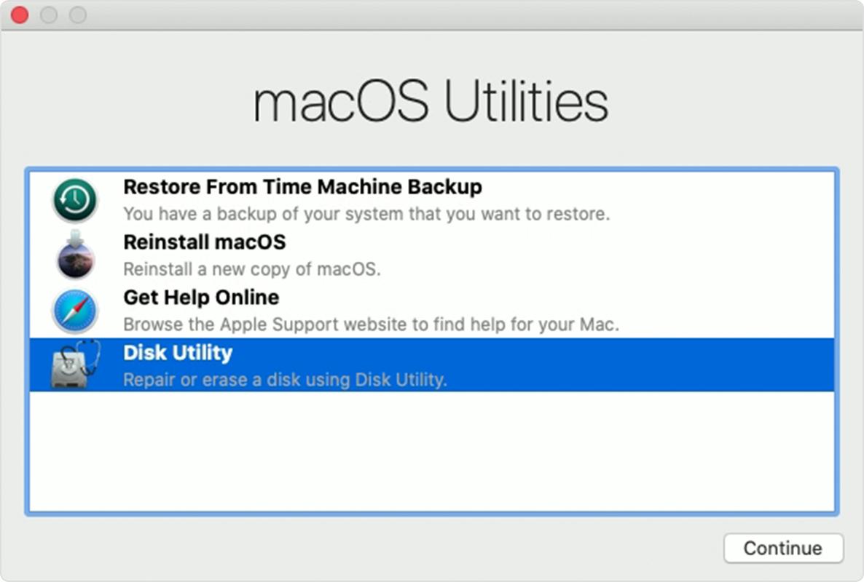 """恢复功能中的""""macOS 实用工具""""窗口"""