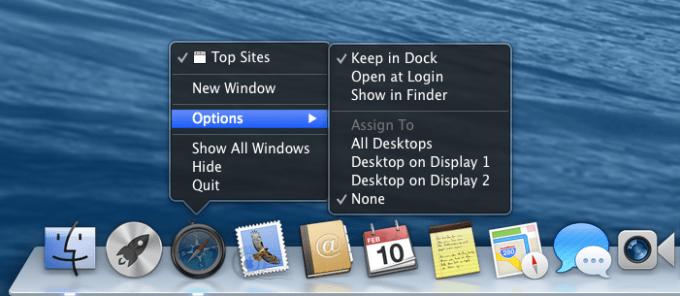 Safari を「すべてのデスクトップ」「なし」「ディスプレイ 1 のデスクトップ」または「ディスプレイ 2 のデスクトップ」に割り当てる