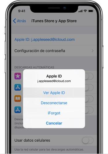 Pantalla de iTunesStoreyAppStore en iPhone, donde se muestra la opción Ver AppleID