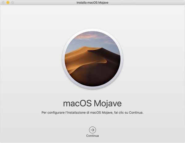Finestra del programma di installazione di macOS