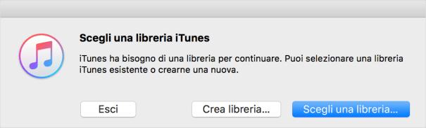 Selezione di una libreria iTunes