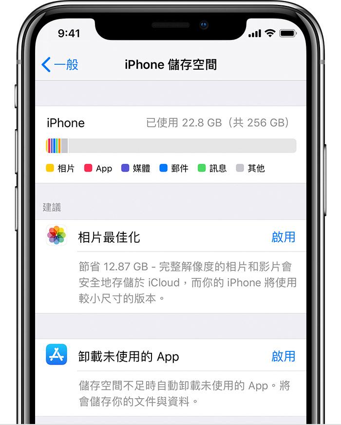 關於裝置和 iCloud 上的儲存空間 - Apple 支援