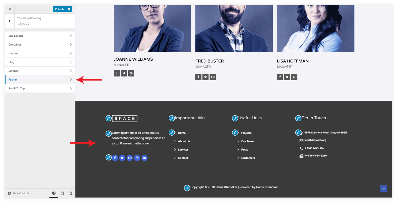 Footer Overview