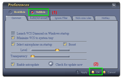 Fig 2: Voice Changer Software Diamond - Settings