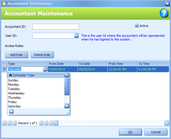 Accountant Maintenance: New Accountant user with Access Time rule added