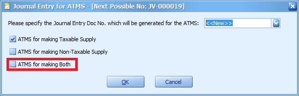 The new option for ATMS Journal Entry
