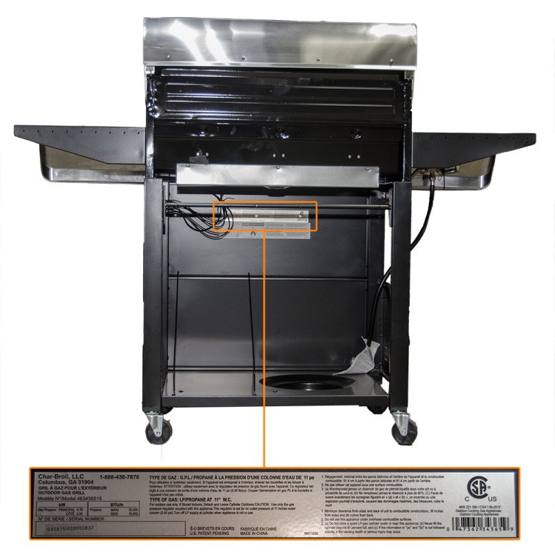 Gas Grill Model Location Back Panel Top