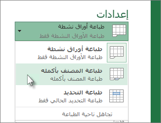 طباعة ورقه عمل كاملة أو جزء منها - طباعة مصنف - طباعة جدول في Excel