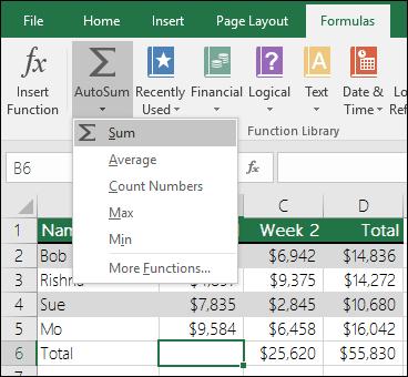 مثال على استخدام الجمع التلقائي - استخدام Excel كآلة حاسبة