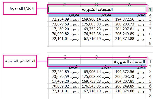 شكل البيانات قبل إلغاء دمج الخلايا وبعده - دمج الخلايا وإلغاء الدمج في إكسل Excel