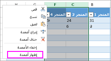 إظهار الأعمدة في إكسل Excel