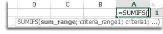 استخدام الإكمال التلقائي للصيغ لإدخال الدالة SUMIFS - جمع قيم تستند إلى شروط متعددة