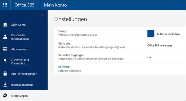 """Seite """"Office 365-Einstellungen"""""""