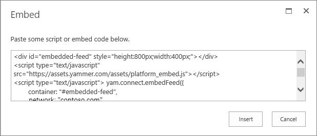 Paste the script into the Script web part