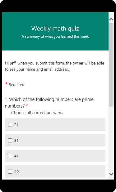 Math quiz displayed in mobile preview mode