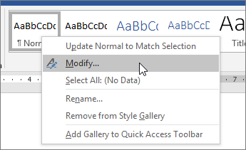 Right-click the Normal style, and choose Modify