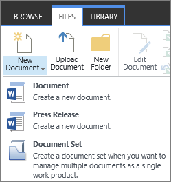 New Document button with dropdown on ribbon