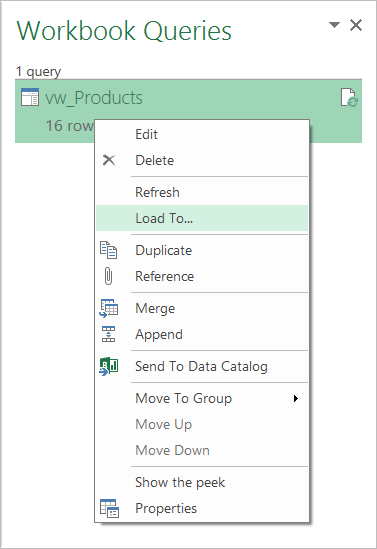 Using Workbook Queries for loading queries into an Excel worksheet
