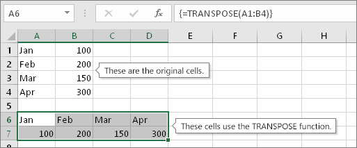 Original cells above, cells with TRANSPOSE function below