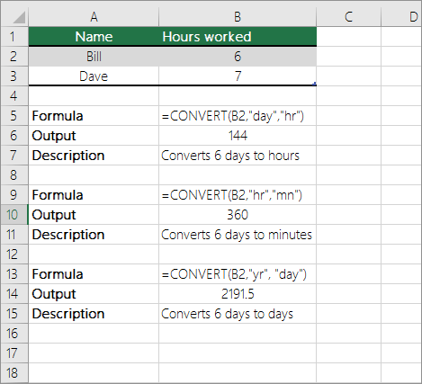 Example: Convert between time units