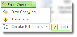 how to find circular reference in excel