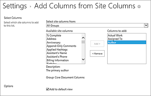 Add existing column page with 3 selected