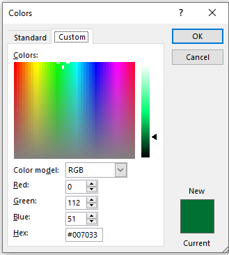 Colors dialog box with a custom color displayed