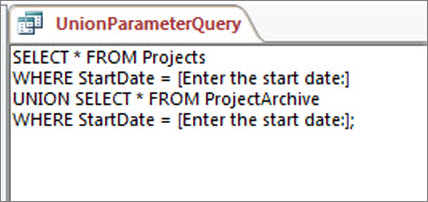 Two-part union query with the following clause in both parts: WHERE StartDate = [Enter the start date:]