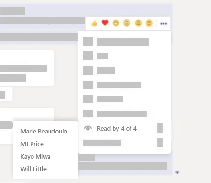 From a chat message, select More options > Read by in Teams.