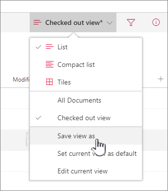 Click Save as to save updated or new view