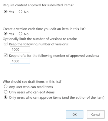 List Settings options in SharePoint Online, showing versioning enabled