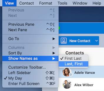 View contacts in the People view