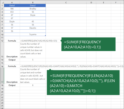 Examples of nested functions to count the number of unique values among duplicates