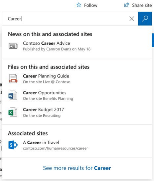 Search results on a SharePoint hub site