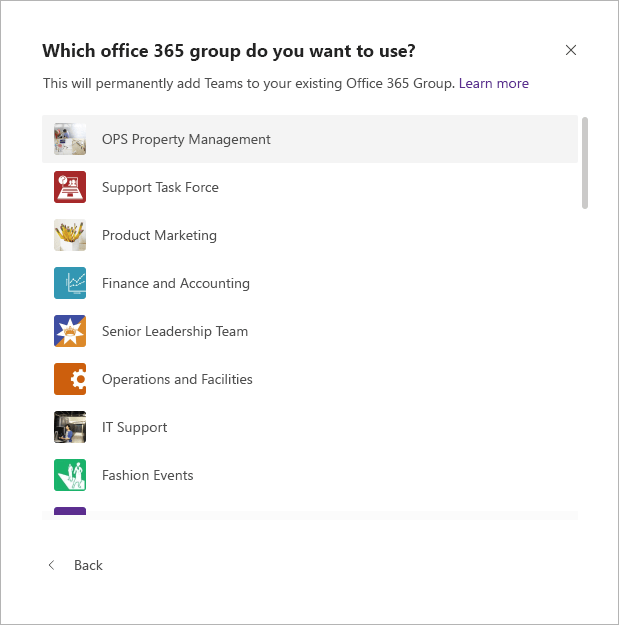 Create a team from an existing group in Microsoft Teams