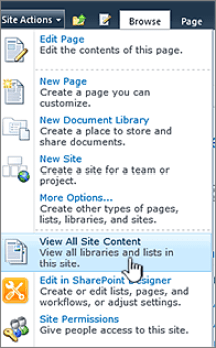 View all site content on the Site actions menu