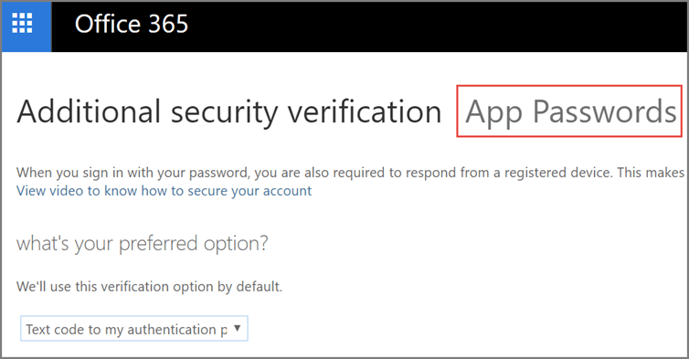 Choose app passwords